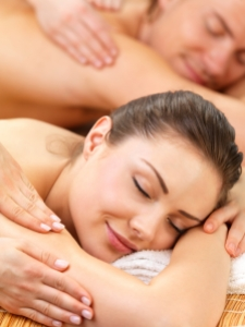 Portrait of a couple getting a romantic massage